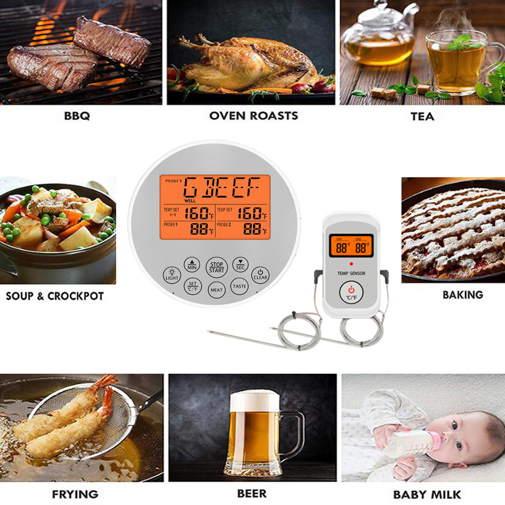 Digital Wireless Food Thermometer for Cooked Food and Grilled Meat with Timer and Temperature Alarm 21
