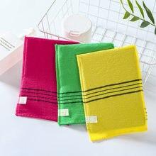 1/4 pces toalha dupla-face coreano esfoliante banho toalha de banho corpo esfrega toalha de chuveiro portátil para adultos grossa grão toalha