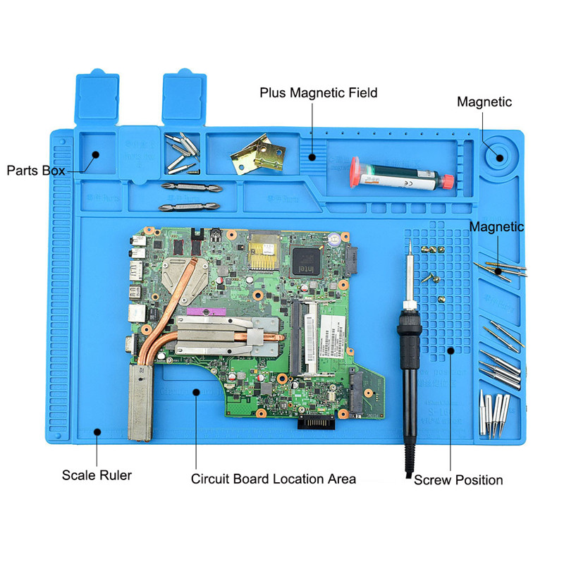 Mobile Phone Computer Repair Silicone Insulation Table Mat With Magnetic, BGA Insulating Platform T4033