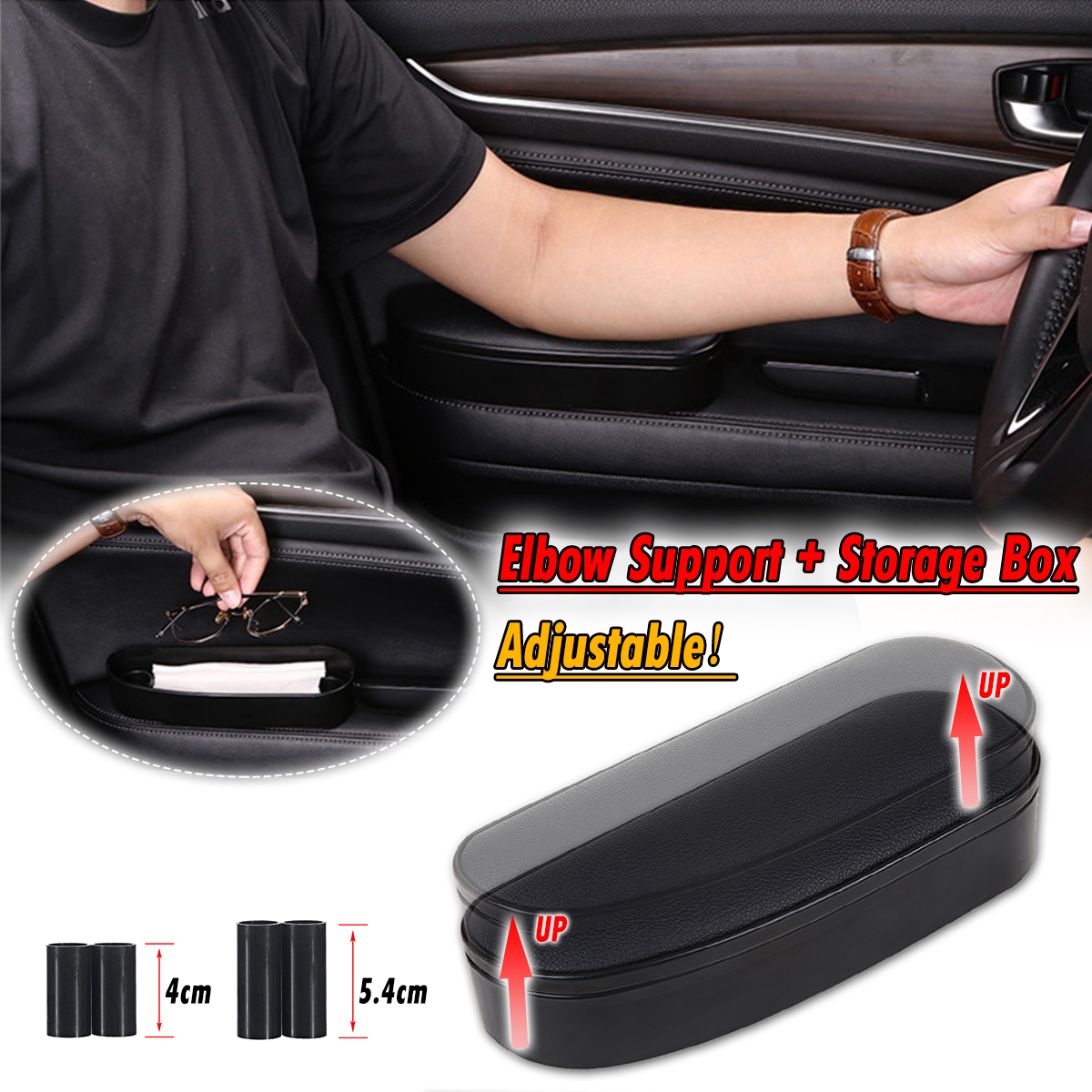 3 in 1 Anti Slip Mat Storage box Adjustable Car Elbow Support Left Hand Armrest Support