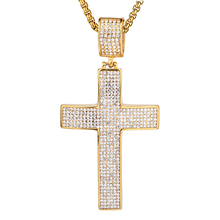 Iced Out Chain Big Cross Pendant Necklace Stainless Steel CZ Cross Necklaces Bling Cubic Zircon Men's Hip Hop Jewelry XL1134