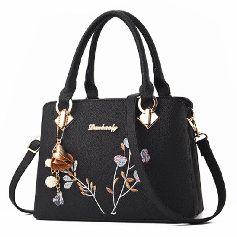 Embroidery Luxury Handbags Women Bags Designer Totes Shoulder Bags For Women Floral Pendant Leather Bags Women Zipper Handbag