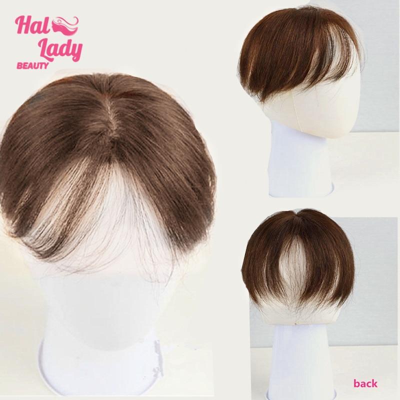 Halo Lady Beauty Clip corta In frangia Toupees Toppers capelli umani naturali indiani nascondi capelli bianchi lisci Non remy