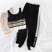 Mooirue Kintting 2 Piece Outfits For Women Letter Printed Vintage Harajuku Streetwear Sleeveless Vest+High Waist Pants Sets