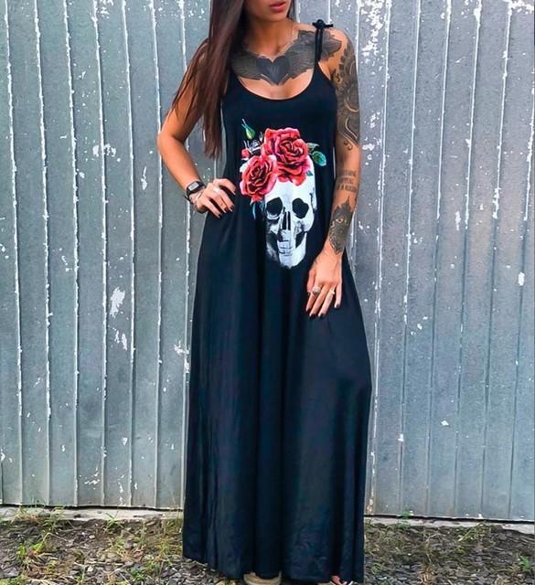 Summer Dresses Women Punk Style Loose Halter Neck Sleeveless Skull Print Female Shirt Dress Street Side High Split Flower Print 3