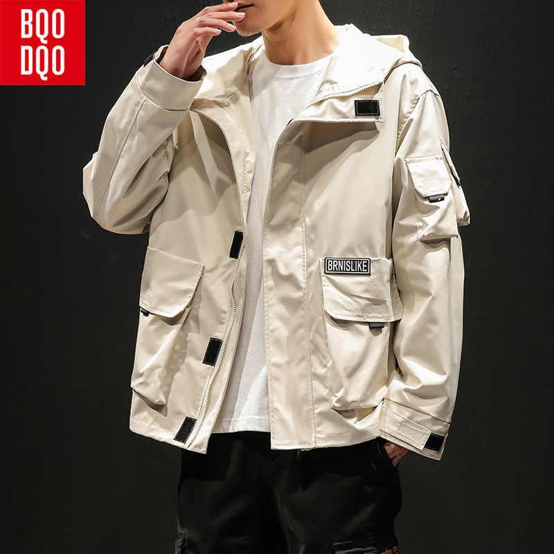 Chaqueta de bombardero japonesa de la universidad negra para los hombres chaqueta con capucha Hiphop Casual de color caqui abrigo de carga militar del ejército de los hombres del otoño