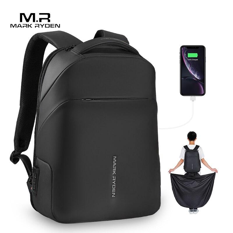 Mark ryden novo anti-ladrão tsa lock men mochila impermeável capa de chuva 15.6 polegada bolsa para portátil escola moda homem bolsa de viagem