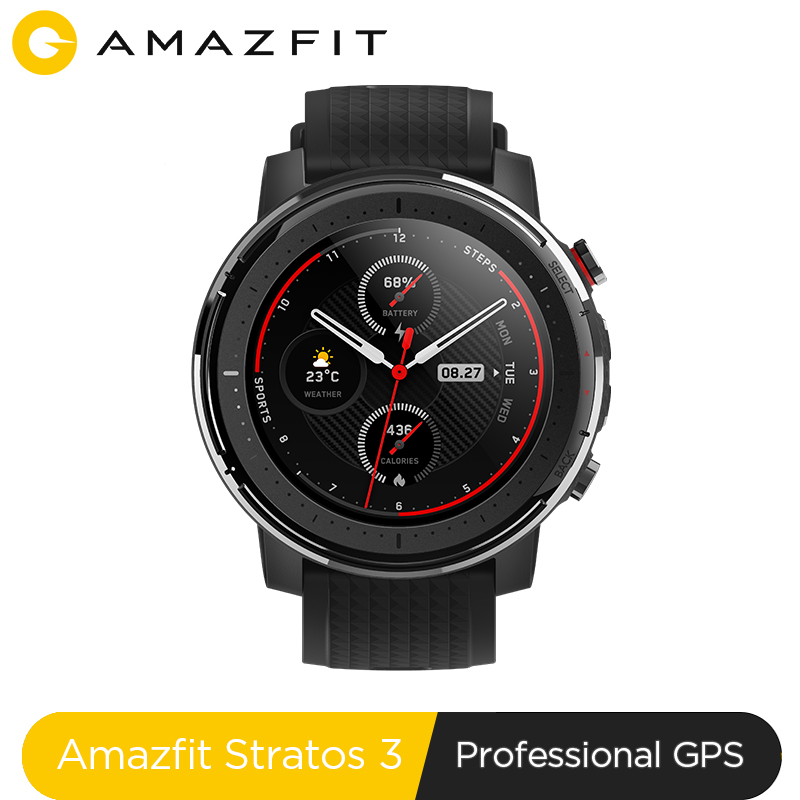 En Stock reloj inteligente Amazfit Stratos 3 GPS 5ATM Bluetooth música modo Dual 14 días batería para smartwatch para Xiaomi 2019