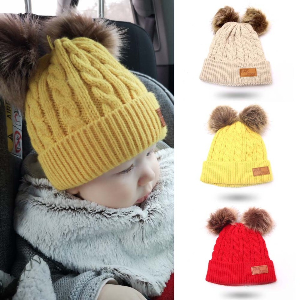 *BABY BABIES BABYS BEIGE TEDDY WINTER BOBBLE HAT DOUBLE 2 BOBBLES 1-2 2-4YRS