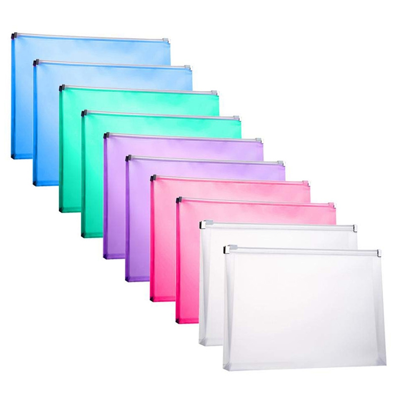 10 Packs Plastic Zip Envelopes Letter Size Holder File Document Receipt Envelope Folders Assorted Color Office Supplier