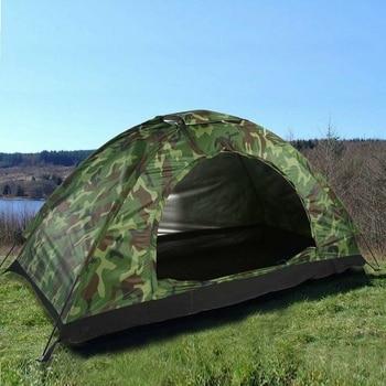 Tienda de Campaña Militar 4 Personas Impermeable Camping Acampada Camuflaje de Caza