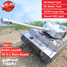 Tanque militar multijugador, Control remoto de Metal, Tiger I, luz nocturna, efecto de sonido, 60 minutos de tiempo de juego con TK-6.1