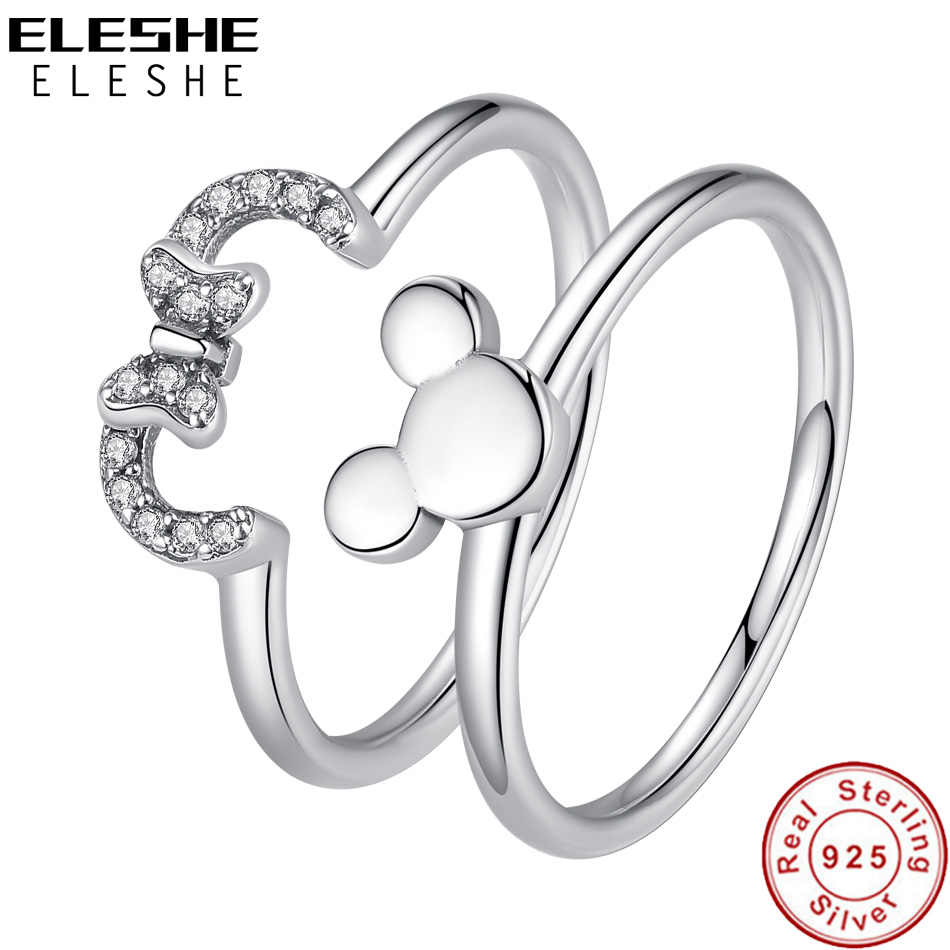 ELESHE เครื่องประดับ 925 เงินสเตอร์ลิงตลอดกาล Heart Minnie แหวนคริสตัล CZ งานแต่งงานแหวนแฟชั่นแหวนนิ้วมือ