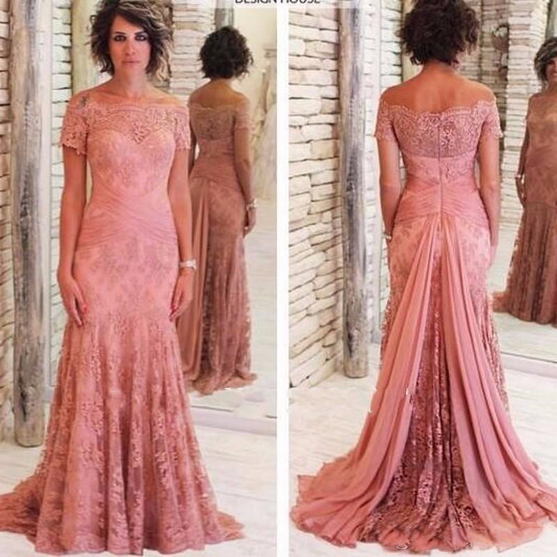 Mother Of The Bride Dresses 2019 Vestido De Madrinha Farsali Robe De Soiree Short Sleeves Boat Neck Plus Evening Gown Custom