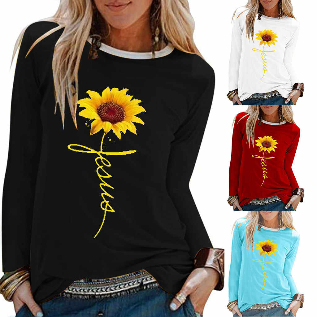 Frauen Plus Größe sunflower Druck Hemd Lange SleeveT Hemd multicolor top tees frauen Oansatz Top Lose T-Shirt