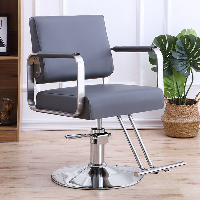 Factory Direct Stainless Steel Armrest Hairdressing Chair Hair Salon Special Hairdressing Chair Lift Down Can Lay Hot