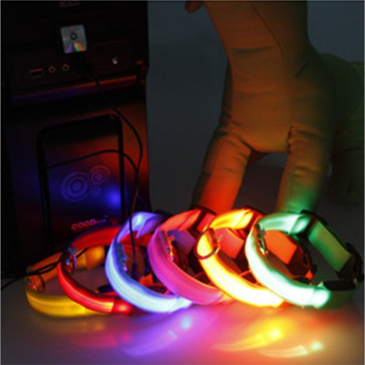 USB Charging LED Shining Pet Dog Collar Flash Dog Neck Coil Shining Night Light Neck Ring