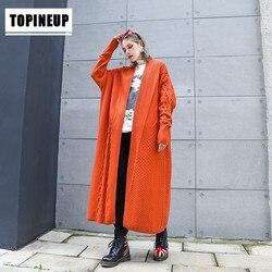 Осенний модный длинный кардиган для женщин 2019, винтажные свободные вязаные свитера для женщин, большой кардиган, вязаный свитер, пальто