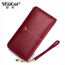 Genuine Leather Women Fashion Clutch Wallet Female Coin Purse Strap Money Bag Purse For Phone Bag Long Wallet Women Zipper Purse hot sell new thick purse fashion women zipper wallet wristlet bag with serpentine genuine cow leather
