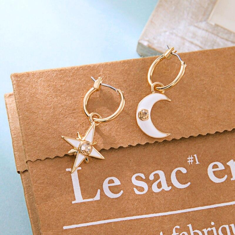 Fashion Gold Color Crystal Enamel Moon Star Earring For Women Handmade Wholesale Jewelry