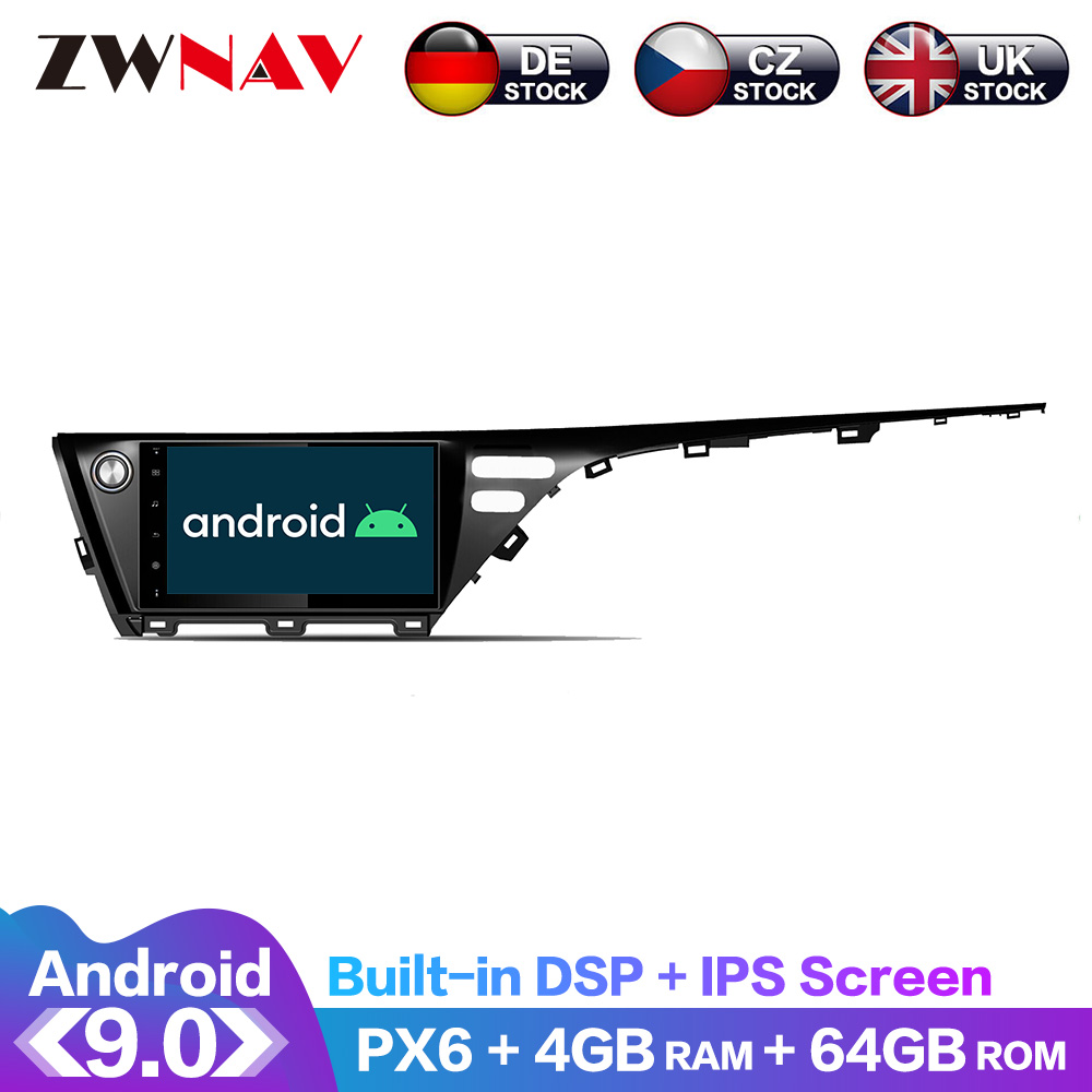 Android 9 IPS Screen PX6 DSP For Toyota Camry 2017 2018 2019 No Car DVD Player GPS Multimedia Player Radio Audio Stereo 2 DIN image