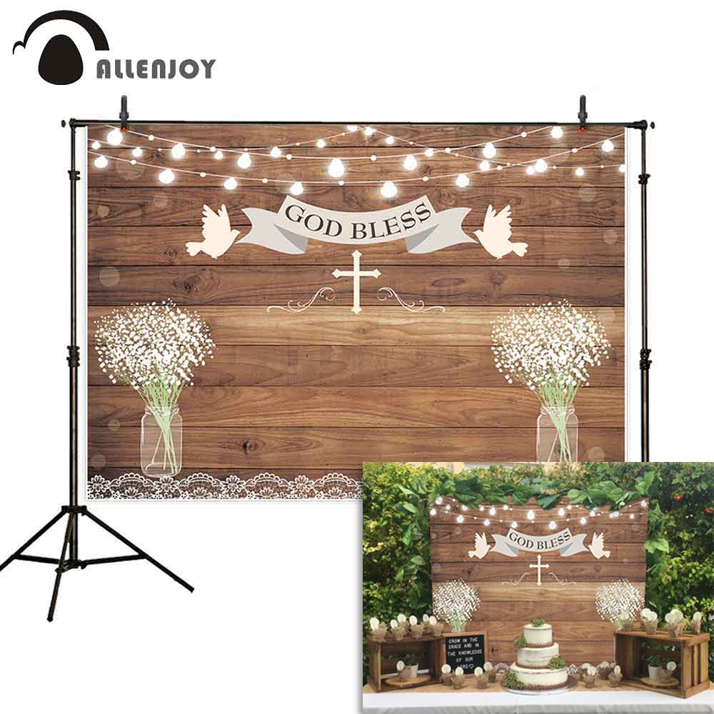 Allenjoy First Holy Communion Party Backdrop Wood Decorations God Bless Baby Shower Baptism Background Photographic Props