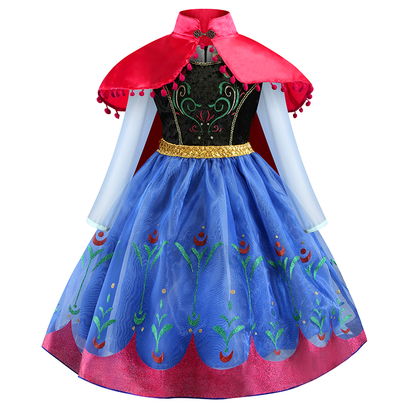 Baby Girls Dresses With Cloak 2PCS New Girls Princess Anna Elsa Cosplay Halloween Costume Kid's Party Dress Kids Girls Clothes