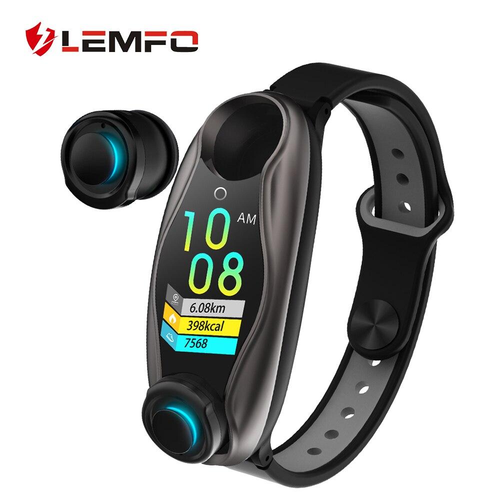 2019 plus récent Sport Fitness Bracelet hommes femmes Bluetooth casque tensiomètre LEMFO Smart santé Bracelet PK mi bande 4