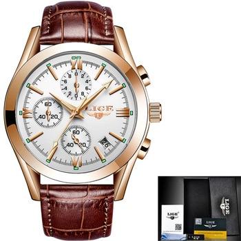 LIGE New Fashion Mens Watches Top Brand Luxury Military Quartz Watch Premium Leather Waterproof Sport Chronograph Watch Men 11
