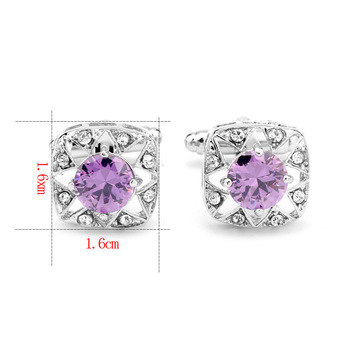 French Purple Zircon Square Cufflinks 3