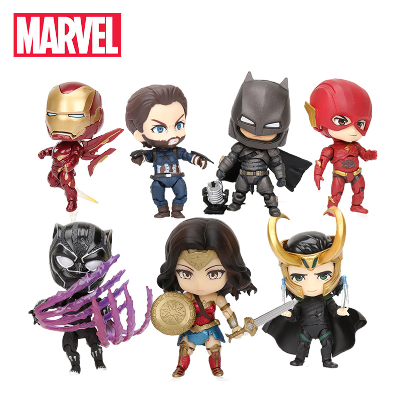 8-9cm Marvel Toys Avengers Infinity War Ironman Mk50 PVC Action Figure Black Panther The Flash 917 Collectible Model