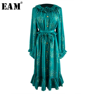 [EAM] kobiety wzór nadrukowany Ruffles Big Size sukienka nowy wokół szyi z długim rękawem luźny krój mody fala wiosna lato 2020 WL96706