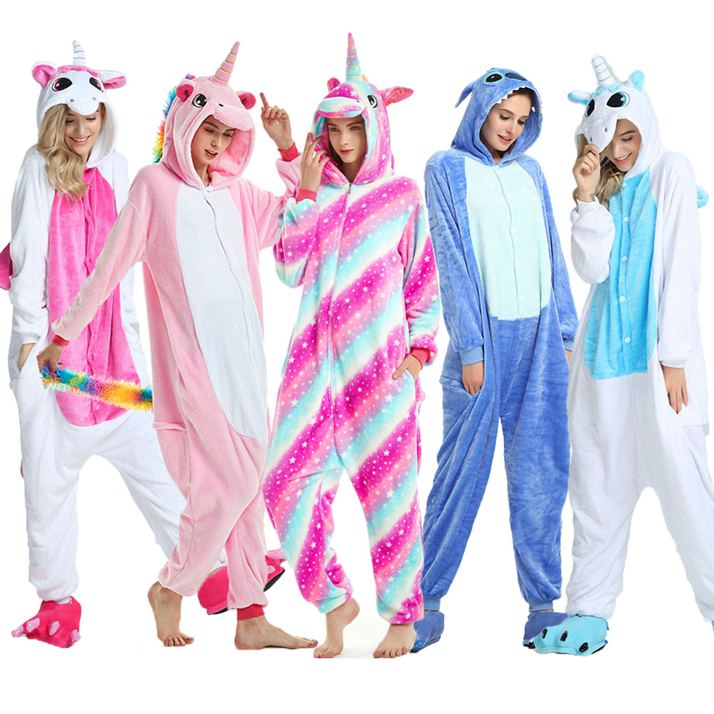 Women Kigurumi Unicorn Pajamas Sets Flannel Cute Animal Pajamas kids Women Winter unicornio Nightie Pyjamas Sleepwear Homewear-in Pajama Sets from Underwear & Sleepwears