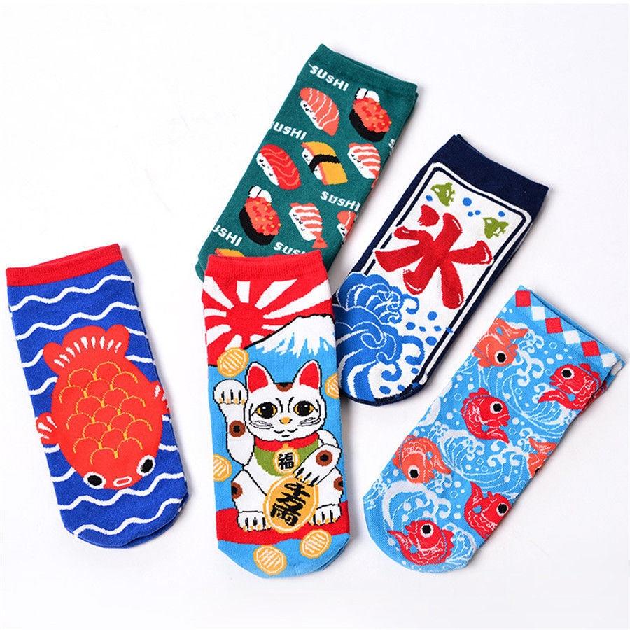 [SOPLCAALCK]Creative Harajuku Funny Socks Women Japanese Sushi Fish Pattern Jacquard Cute Socks Lovely Crew Calcetines Mujer Sox