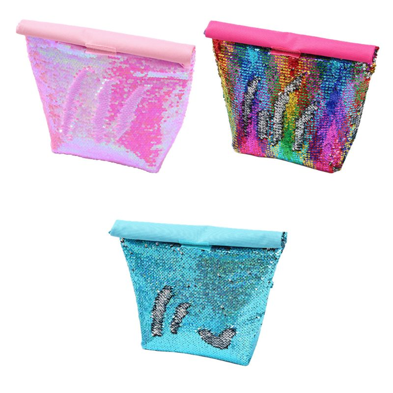 Portable Thermal Insulated Lunch Bag Sequin Picnic Box Tote Travel Pouch A69C