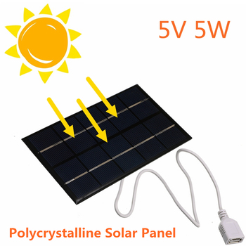 USB Solar Panel Outdoor 5W 5V Portable Solar Charger Pane Climbing Fast Charger Polysilicon Tablet Solar Generator Travel 1