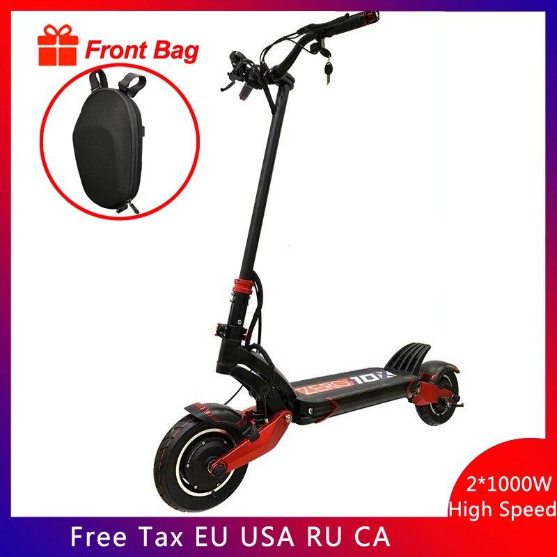 Новейшая модель; нулевой 10X скутер 10 дюймов двойной двигатель высокое Скорость электрический скутер 52 в 2000 Вт внедорожный е-скутер способны...