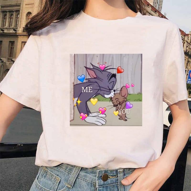 WVIOCE 2019 Fashion Cat Mouse Print Women Tshirts Cartoon Short Sleeve Tops Loose Whit T Shirt Tees Casual Soft Women Tshirts