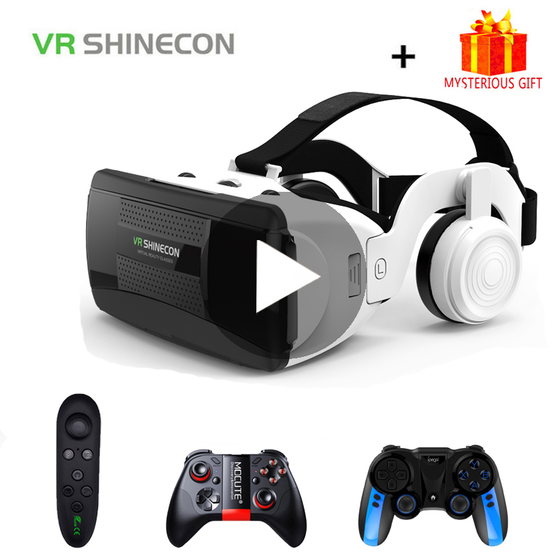 VR Shinecon G06EB 3D Glasses Virtual Reality Headset For iPhone Android Smartphone Smart Phone Goggles Casque Lunette Helmet Set