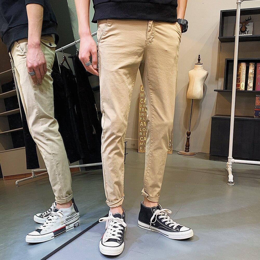 FUHAOGONGSHE Spring New Style Men Elasticity Casual Pants Students Pure Cotton Bai Da Bu Pants Korean-style Straight-Cut Long Pa