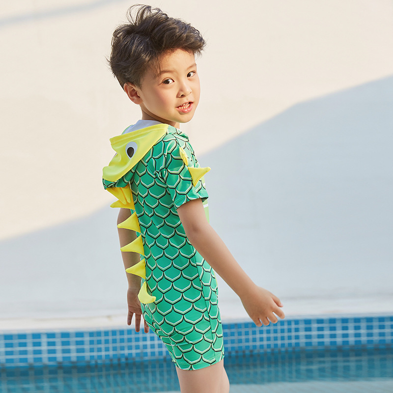 KID'S Swimwear BOY'S GIRL'S One-piece Dinosaur Sun-resistant Quick-Dry Infant Small CHILDREN'S Baby 1-12-Year-Old Long Sleeve Sw