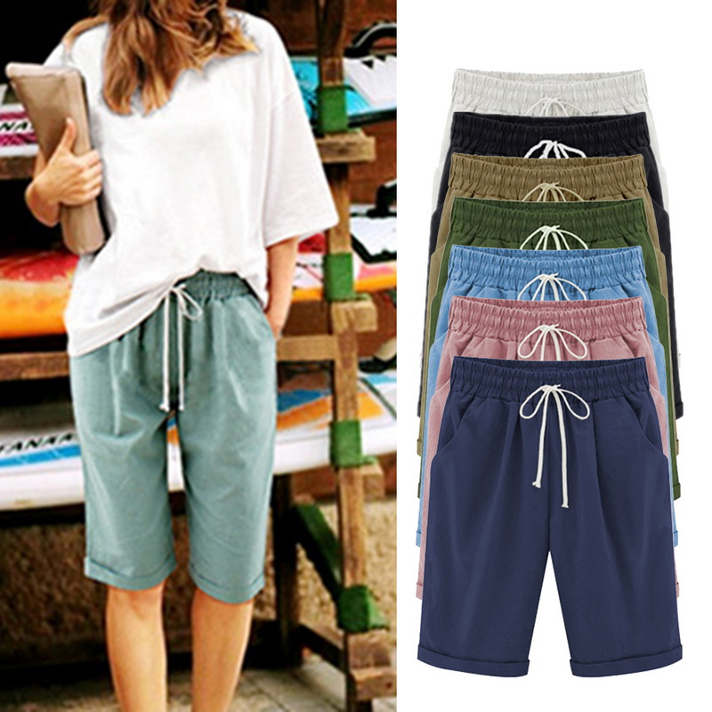 NIBESSER Summer Loose Straight Knee Length Shorts Comfortable Pocket Trouses Women's Short Plus Size FiveStrap Casual Shorts