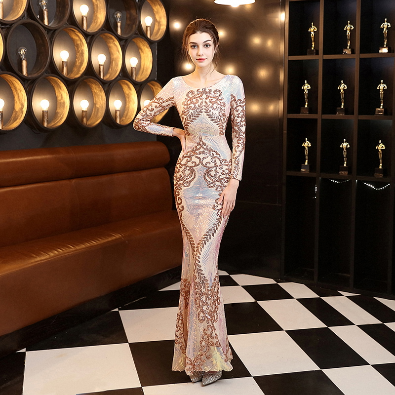 Alibride Long Sleeves Evening Dresses Luxury Sequins Lace Flower Evening Party Dress 2021 Sexy Women Formal Mermaid Host Dress