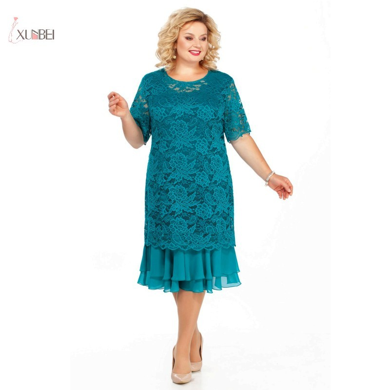 Plus Size Lace Mother Of The Bride Dresses Suit 2020 Tea Length Wedding Party Gown Half Sleeve Two Piece Robe Mere De Mariee