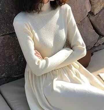 Getspring Nữ Cao Cổ Tay Dài Áo Len Đầm Dệt Kim Cao Cấp Áo Dài Đáy ĐẦM THU ĐÔNG