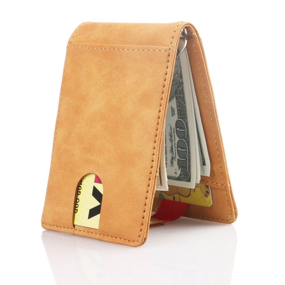 Trassory rfid bloqueio de couro clipe de dinheiro sim bolso carteira cartão de crédito caso titular capa