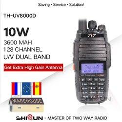 Tyt TH-UV8000D Walkie Talkie 10Km Dual Band Vhf Uhf 10W Radio Comunicador 10Km 3600 Mah Cross- band Repeater Functie Tyt Radio