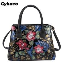 Gykaeo Bohemian Stijl Borduren Bloemen Tassen Voor Vrouwen 2020 Winter Street Fashion Schoudertas Dames Lederen Messenger Bag