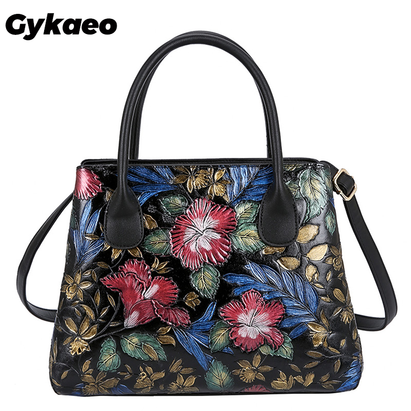 Gykaeo Bohemian Style Embroidery Floral Tote Bags For Women 2019 Winter Street Fashion Shoulder Bag Ladies Leather Messenger Bag