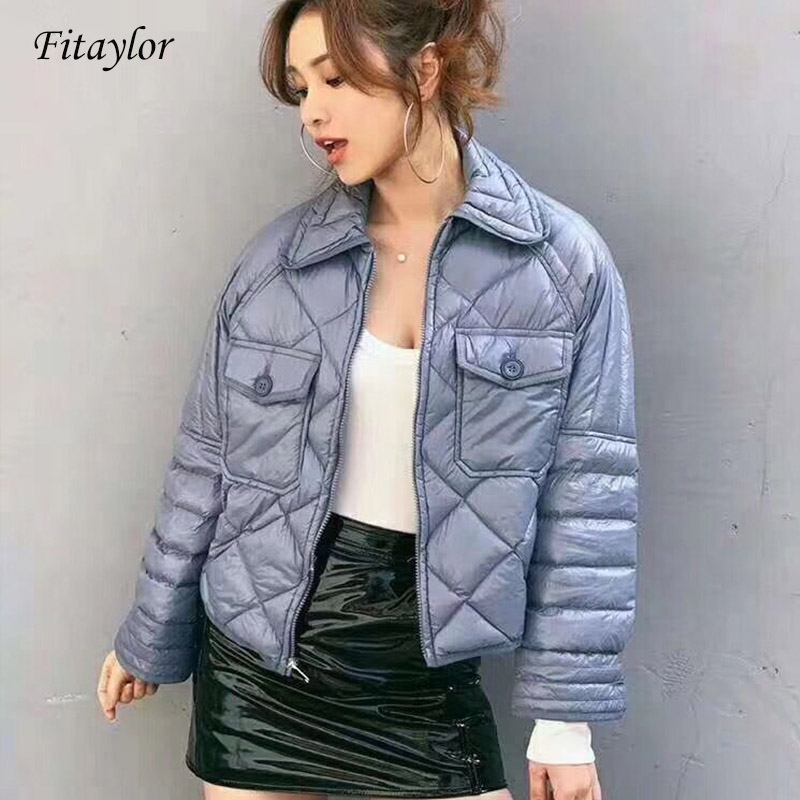 Fitaylor New Winter Duck Down Jacket Women Short Ultra Light Duck Coat Stand Collar Slim Short Warm Coats Clothes